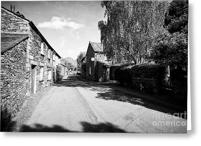Street Through Traditional Lake Stone Slate Built Cottages In The Hamlet Of Town End Near Grasmere L Greeting Card