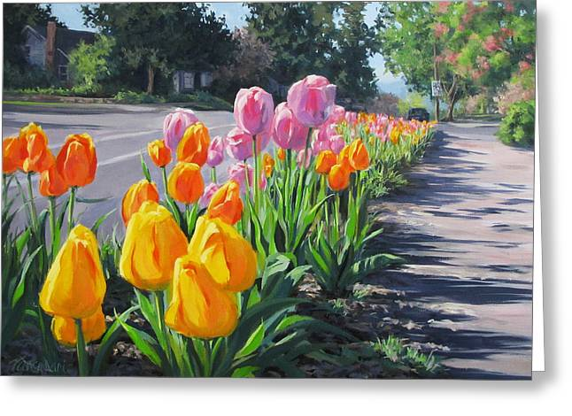Street Tulips Greeting Card