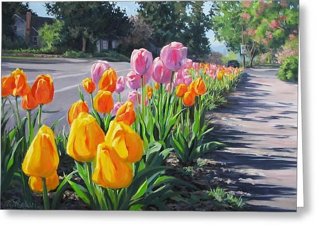 Street Tulips Greeting Card by Karen Ilari