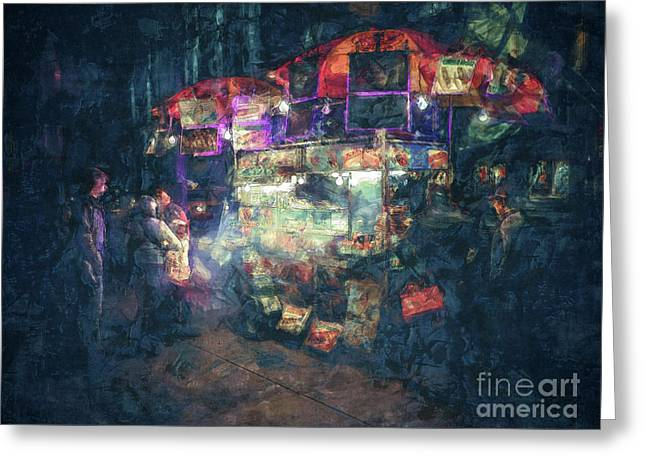 Street Vendor Food Stand Greeting Card