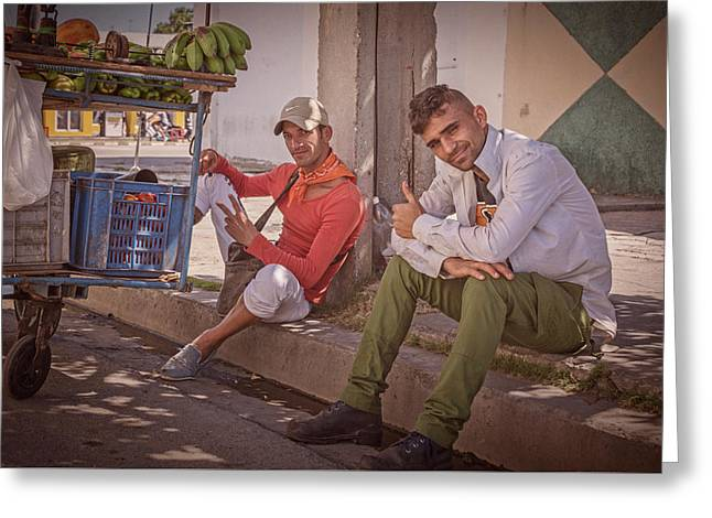 Greeting Card featuring the photograph Street Vendors In Cienfuegos Cuba by Joan Carroll