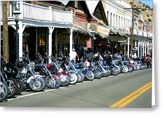 Street Vibrations In Virginia City Nevada Greeting Card by Brad Scott