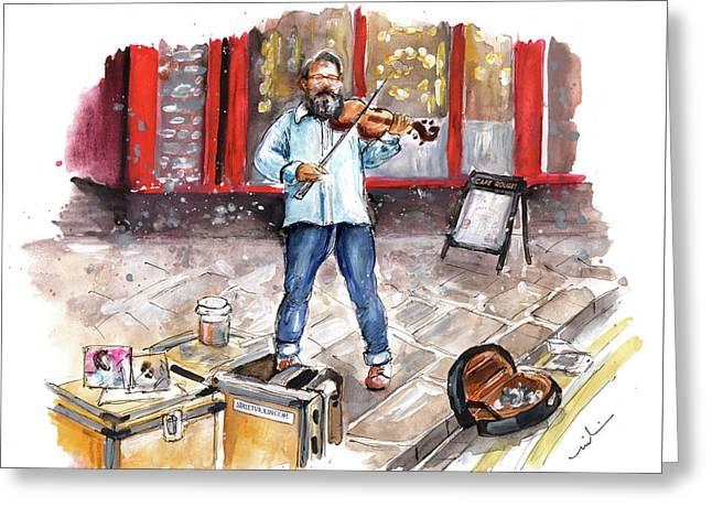 Street Violinist In York Greeting Card