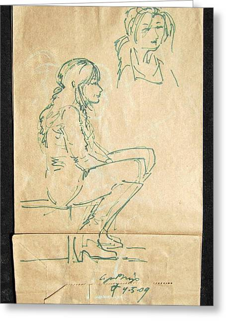 Street Walker Greeting Card by Radical Reconstruction Fine Art Featuring Nancy Wood