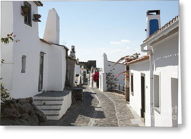 Street With White Houses Monsaraz Greeting Card by Compuinfoto