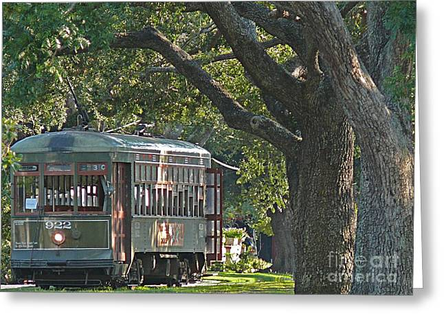 Streetcar Under The Oak Trees Greeting Card