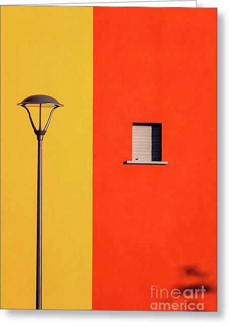 Streetlamp Window And Shadow Greeting Card by Silvia Ganora