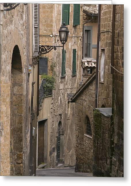 Streets Of Assisi Greeting Card by Lynn Andrews