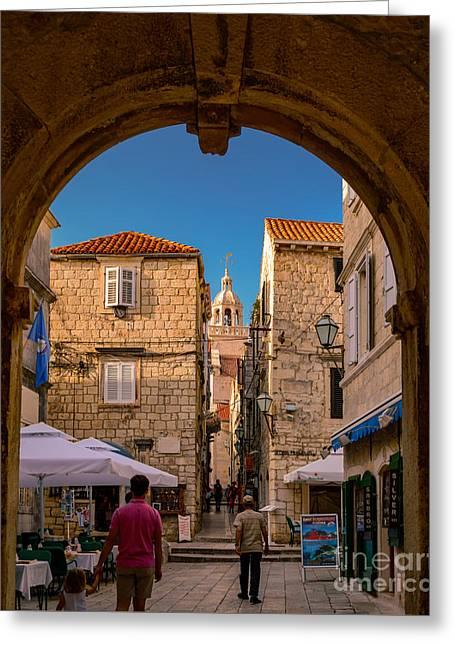 Streets Of Korcula, Croatia Greeting Card by Sinisa CIGLENECKI