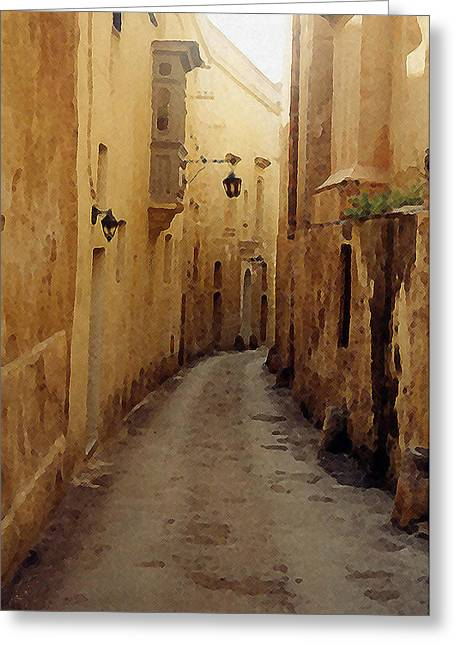 Greeting Card featuring the photograph Streets Of Malta by Debbie Karnes