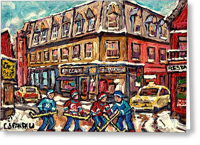 Streets Of Montreal Verdun Depanneur Winter Scene Paintings Canadian Hockey Art Carole Spandau Greeting Card by Carole Spandau