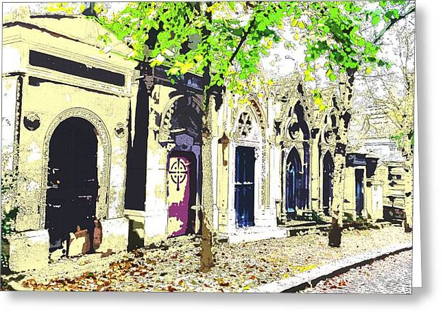 streets of Pere La Chaise cemetary Greeting Card by Corinne Barreca