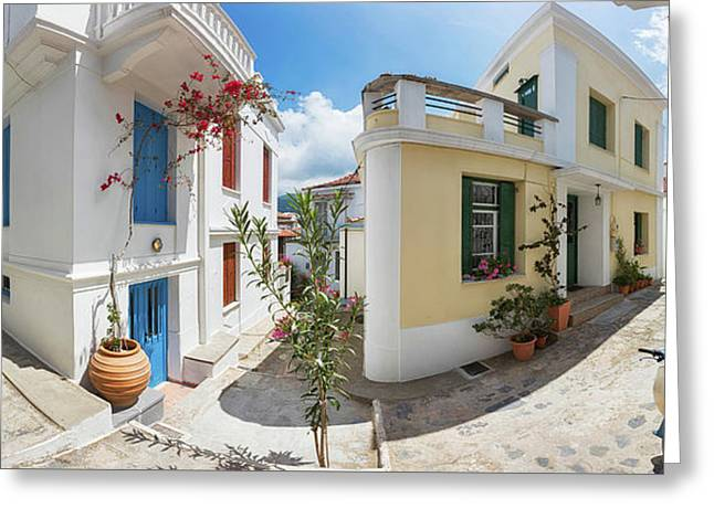 Streets Of Skopelos Greeting Card by Evgeni Dinev