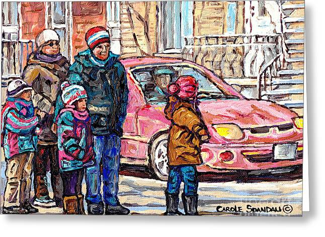Streets Of Verdun Beautiful Winter Afternoon Family Stroll Canadian Painting Carole Spandau Artist   Greeting Card by Carole Spandau