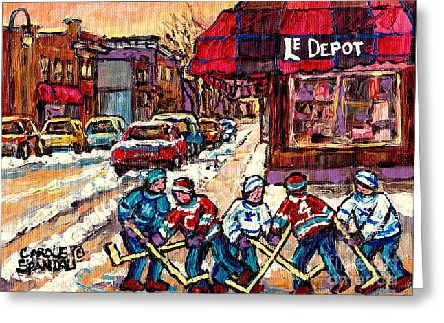 Streets Of Verdun Montreal Hockey Practice Le Depot Rue De L'egise  Canadian Painting Carole Spandau Greeting Card by Carole Spandau