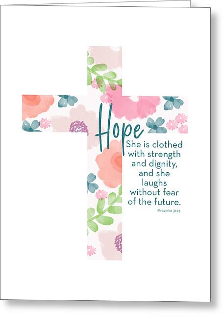 Strength And Dignity Cross- Art By Linda Woods Greeting Card