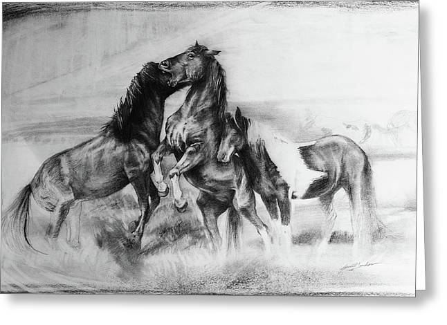Strength And Honour- Mustangs Greeting Card by Susie Gordon