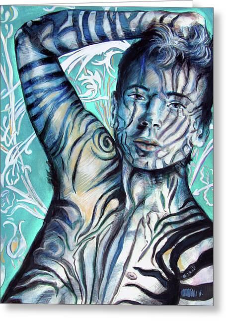 Strength In Blue Stripes, Zebra Boy #6 Greeting Card by Rene Capone