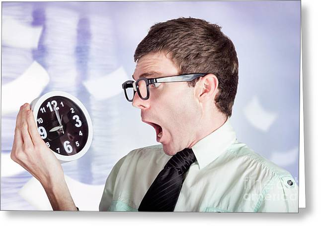 Stressed Male Office Worker Holding Overtime Clock Greeting Card