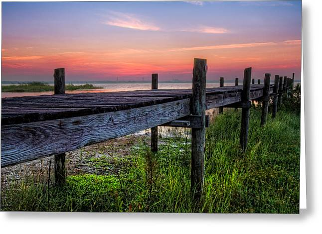 Stretching Into Sunset Greeting Card by Debra and Dave Vanderlaan