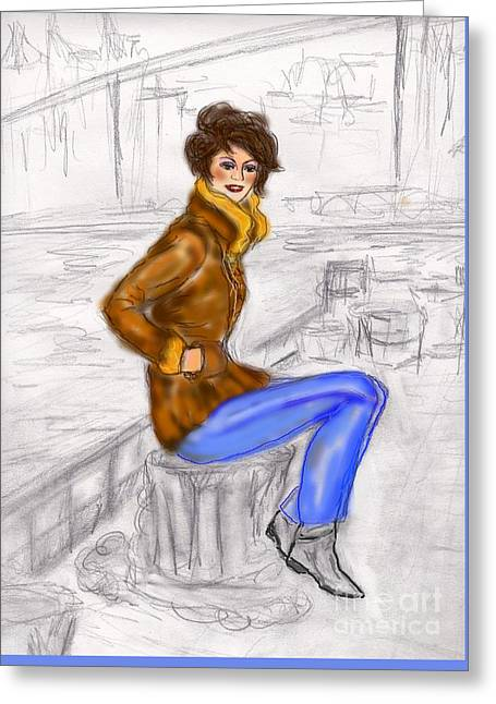 Greeting Card featuring the drawing Strike A Pose by Desline Vitto