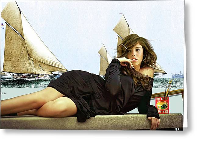 Art Models Wanted, Strike A Pose, Folgers Coffee, The Artist Salon, Lucy Bayet Greeting Card