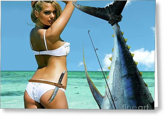 Strike A Pose,' Kate Upton, Trophy Yellowfin Tuna, 50 Lb Test Line, Mako Point, Fl Greeting Card