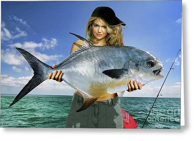 Strike A Pose,' Kate Upton, Trophy Permit Fish, Key West, Fl, 20lb Test Line Greeting Card