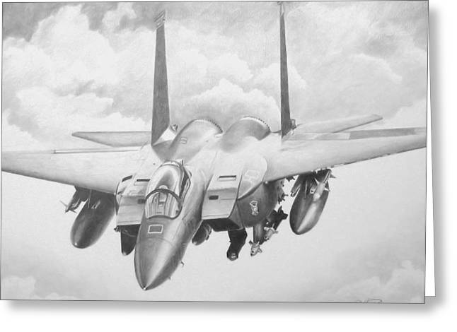 Iraq Drawings Greeting Cards - Strike Eagle Greeting Card by Stephen Roberson