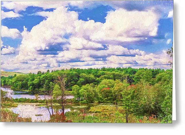 Striking Clouds Above Small Water Inlet And Green Trees Greeting Card