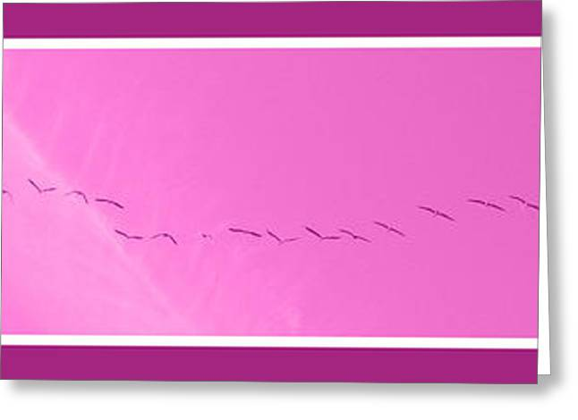 String Of Birds In Purple Greeting Card