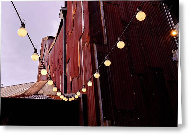 String Of Lights Near An Old Brown Building In Saint Augustine F Greeting Card