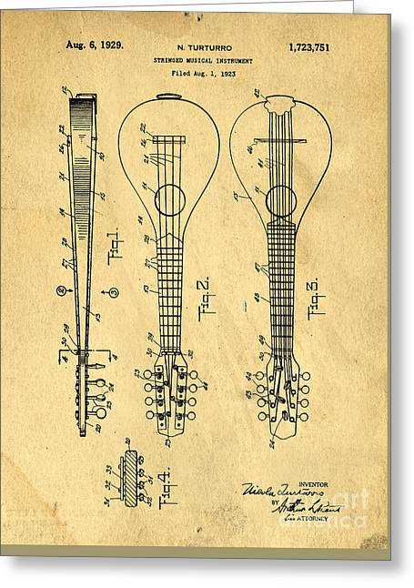 Stringed Musicial Instrument Patent Art Blueprint Drawing Greeting Card by Edward Fielding