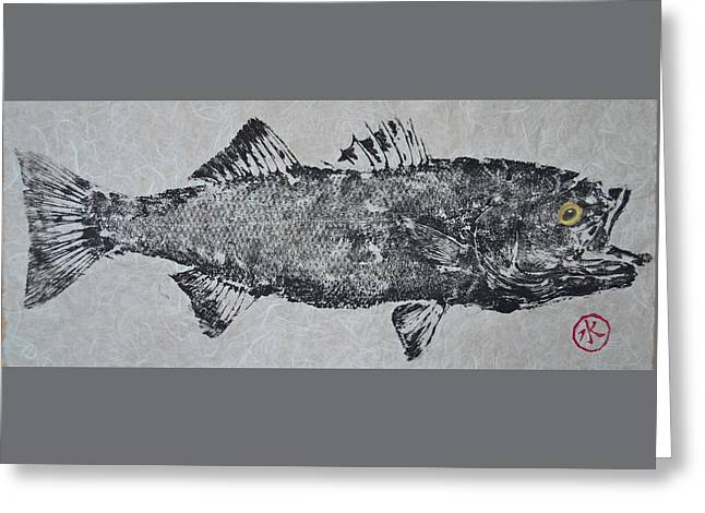 Striped Bass On Bright White Thai Unryu / Mulberry Paper Greeting Card