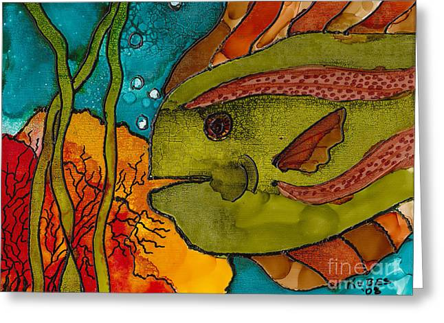Striped Fish Greeting Card by Susan Kubes