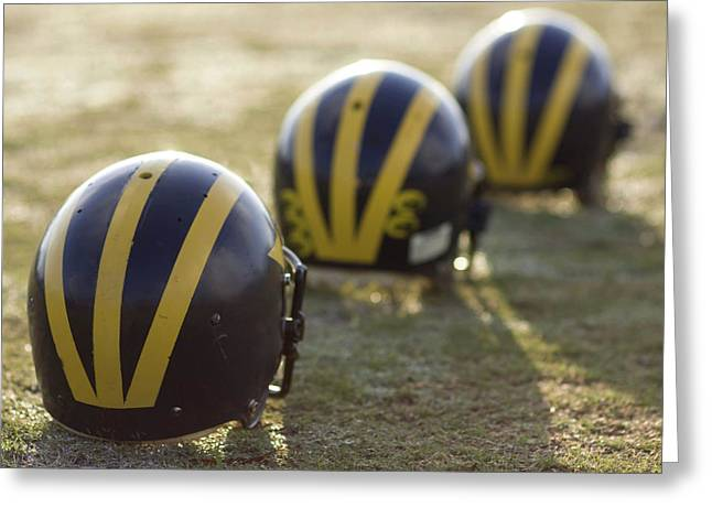 Striped Helmets On A Yard Line Greeting Card