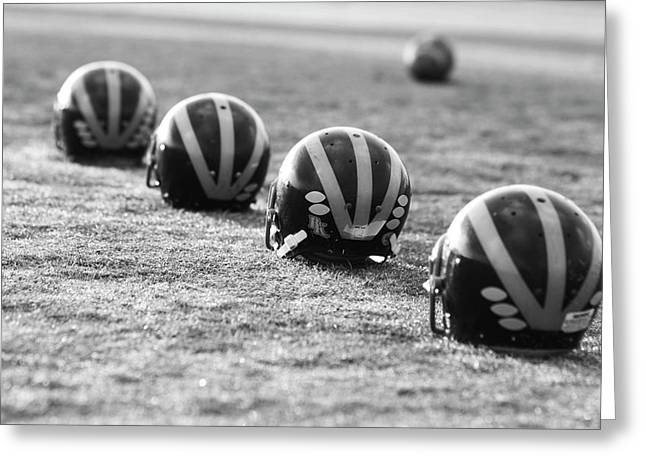 Striped Helmets On The Field Greeting Card