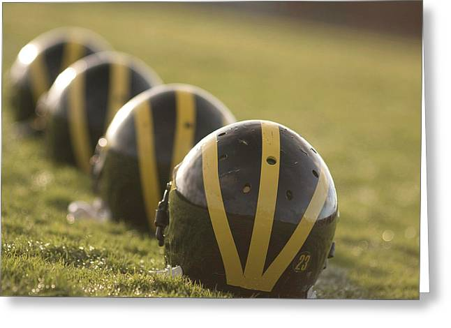 Striped Helmets On Yard Line Greeting Card