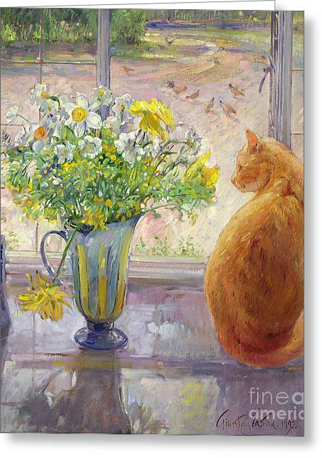 Watching Greeting Cards - Striped Jug with Spring Flowers Greeting Card by Timothy Easton