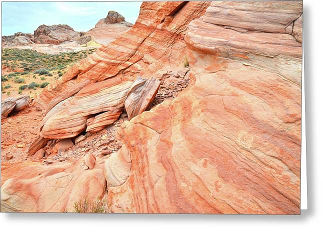 Greeting Card featuring the photograph Striped Sandstone Along Park Road In Valley Of Fire by Ray Mathis