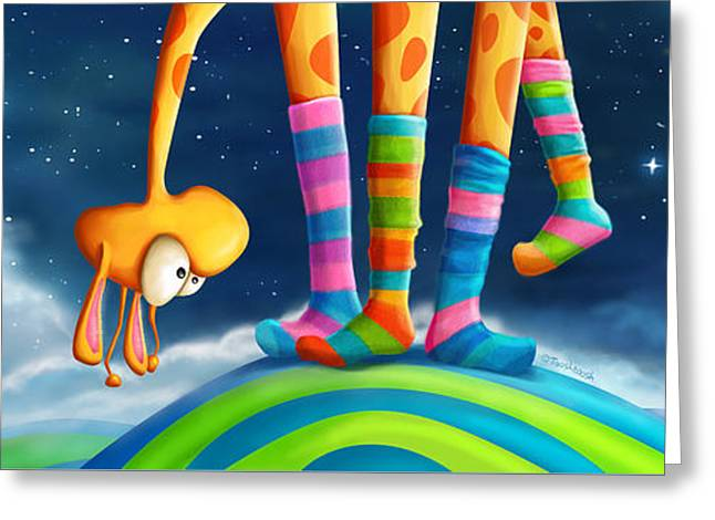 Striped Socks - Revisited Greeting Card