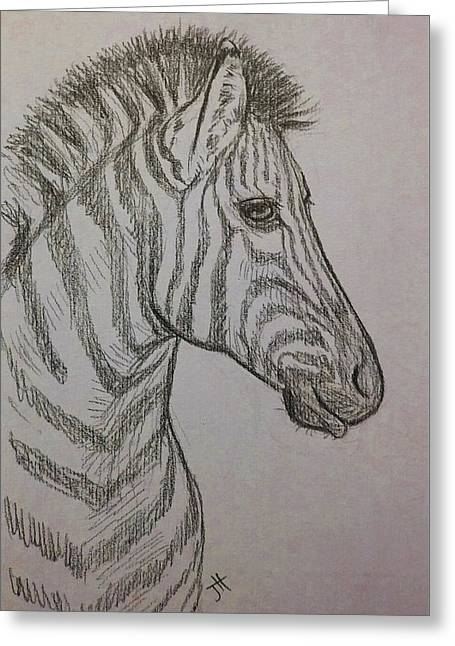 Greeting Card featuring the drawing Striped Stud by Jennifer Hotai
