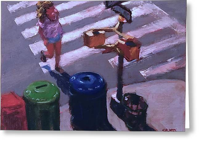 Stripes -- Crossing Broadway Greeting Card by Peter Salwen