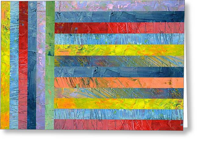 Stripes With Blue And Red Greeting Card by Michelle Calkins