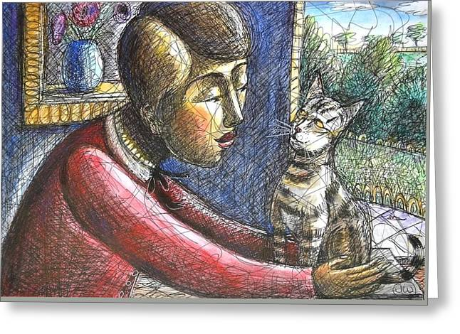 Stripey Cat With Girl Greeting Card