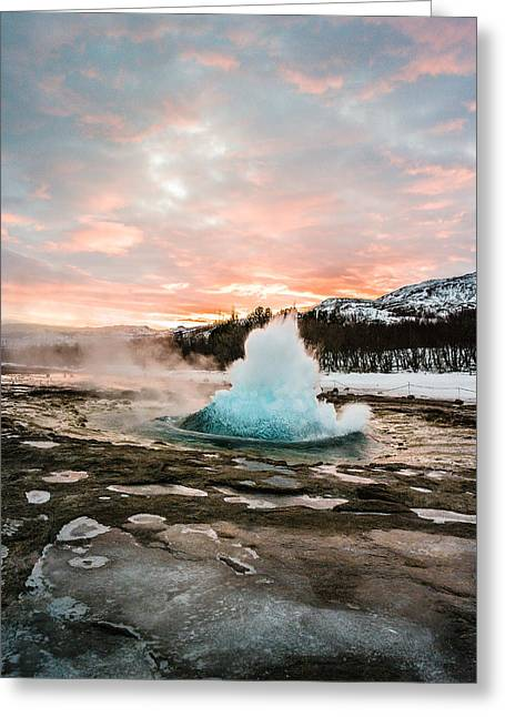 Strokkur Winter Blowup In Front Of Sunset Greeting Card