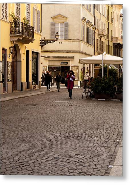 Strolling About Parma Greeting Card by Rae Tucker