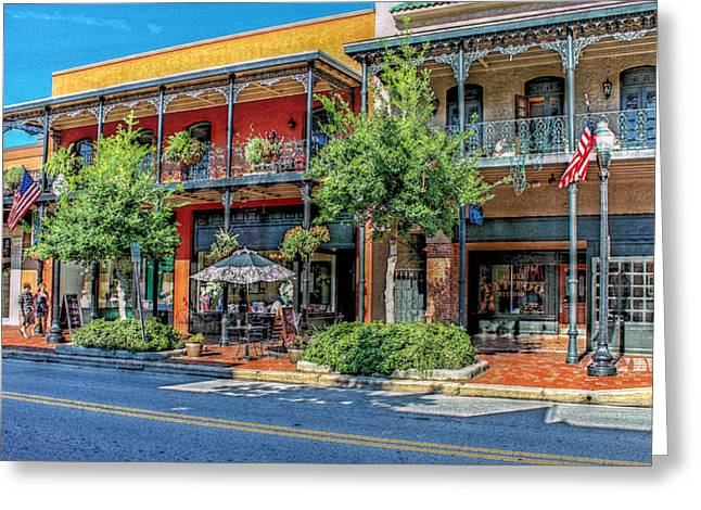 Strolling Down Palafox Street Greeting Card