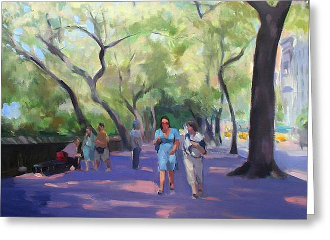 Strolling In Central Park Greeting Card by Merle Keller