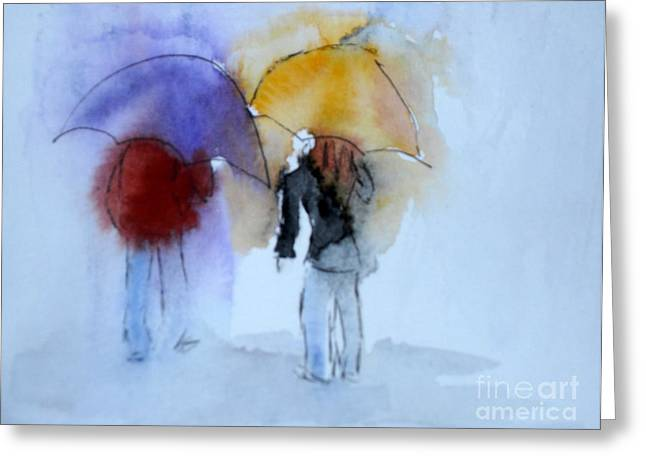 Strolling In The Rain Greeting Card